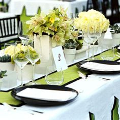 Black White And Lime Green I Like The Color Combo Decoration Table