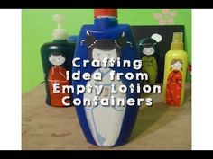 Crafting Idea from Empty Lotion Containers DIY Hand Painted Japanese Dolls