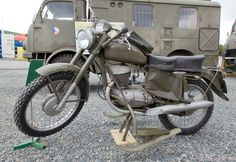 JAWA 250 type 579.  Swedish military motorcycle; note the attached skis for use in winter