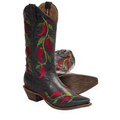 "$129.95 - Twisted X Boots Steppin' Out Cowboy Boots - 13"", F-Toe (For Women) in Black/Chili"