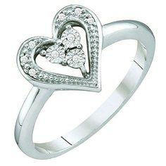 0.02 Carat (ctw) 10k White Gold Round Cut Diamond Ladies Bridal Heart Promise Ring ** Additional details at the pin image, click it  : Promise Rings