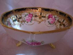 """(*_*) Gold Gilt Hand Painted Nippon Moriage Footed Bowl Floral Rose 7"""" Porcelain #Nippon"""