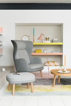 Brighten up your living space with a lick of paint on shelf edges. Try Sweet Citrus and Sumatran Melody 4 against cool neutrals such as Chalk Dust and Knotted Twine.