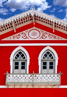 Windows in red    Olinda, Brazil