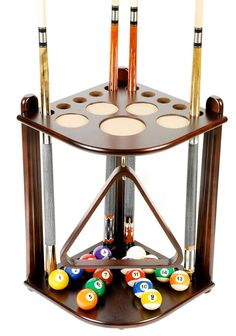 10 cue and ball floor rack. We have 100's of billiard accessories in our store click store category on left. Hook for ball rack. Cues, balls, and ball triangle not included. Mahogany finish.