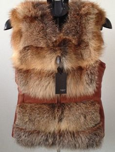 Vest coat of fox fur and genuine leather RED FOX