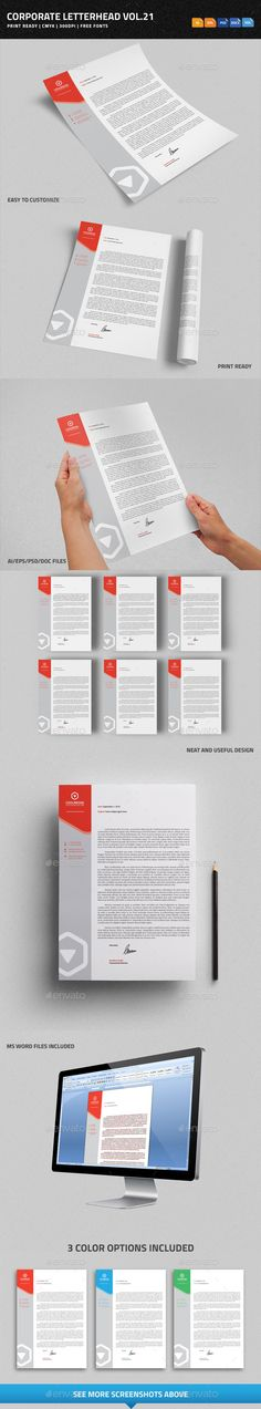 Corporate Letterhead vol.21 with MS Word DOC/DOCX #business #psdtemplate #corporate #creative #printready #letterhead #elegant #original #personal #simple #trendy #letter #a4 #blank #logo #stationary #word #identity