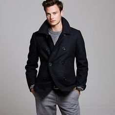Shop J.Crew for the Authentic Bayswater peacoat for Men. Find the best selection of Men Outerwear available in-stores and online. Man's Overcoat, Handsome Arab Men, Black Pea Coats, Mens Winter Coat, Blazers, J Crew Men, Men's Coats And Jackets, Stylish Men, Menswear