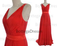 Red Prom Dresses 2014 Prom Gown Straps V Neck by BottegaDresses, $139.00