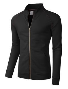 LE3NO PREMIUM Mens Lightweight Cadet Collar Full Zip Track Jacket