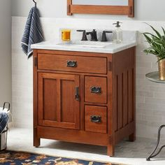 30 American Craftsman Vanity For Rectangular Undermount Sink Autumn Wheat with Bathroom Wood Vanities - Home Design Ideas Wood Bathroom Cabinets, Bathroom Flooring, Bathroom Furniture, Oak Bathroom, Downstairs Bathroom, Antique Furniture, Bathroom Vintage, Rustic Cabinets, Light Bathroom