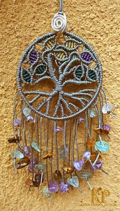"Micro macrame charm ""Tree of life"", amulet for the home. Amethyst, tiger eye, and fluorite stones."