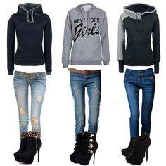 conjuntos de ropa de moda en colores azul, gris , negro