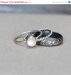 3O PERCENT OFF with Rush Production Rose Cut White Topaz Dark Sterling Stacking Rings Engagement Ring Gemstone Ring