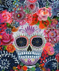 Day of the Dead Sugar Skull PRINT - Skull Print - Dia de los Muertos - Floral SKull - Cultural ARt - Decorative Skull - Mexican Art
