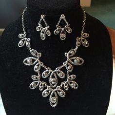Brighton Scroll Statement Necklace + Earring Set This retired Authentic Brighton Necklace has a unique twisted rope scroll design with rhinestones. Matching post earrings. Only worn twice. Brighton Jewelry Necklaces