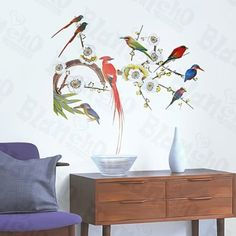 Parrots - Large Wall Decals Stickers Appliques Home Decor