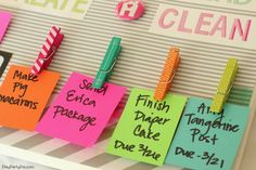 Use mini clothespins and pieces of paper instead of a traditional to-do list, love this idea from playpartypin.com