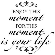 Enjoy This Moment For This Moment Is Your Life decal vinyl lettering home decor