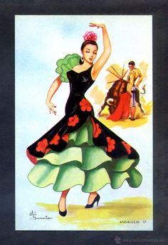 Andalusia n°17, 2nd version Spanish Dancer, Spanish Art, Spanish Pictures, Arte Quilling, Flamenco Dancers, Chicano Art, Forest Fairy, Sewing Art, Mexican Art