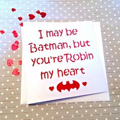 Valentine's card, Valentine's day card, valentine card, card for girlfriend, card for wife, girlfriend valentine, batman card by AprilDaysDesigns on Etsy