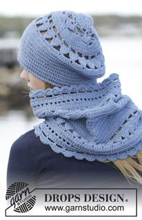 "Set consists of: Crochet DROPS beret and neck warmer with lace pattern in ""Lima"". ~ DROPS Design"