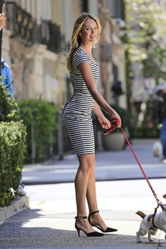 Candice Swanepoel Photos: Candice Swanepoel Walks a Dog for a Photo Shoot