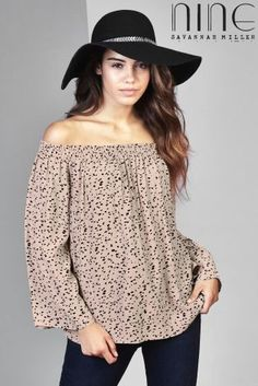 Buy Nine By Savannah Miller Off The Shoulder Spotty Print Top online today at…