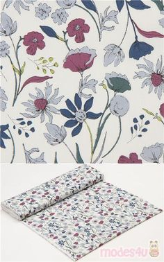 off-white cotton fabric with dandelions, flowers in light grey-blue, purple etc., Material: 100% cotton, Fabric Type: strong cotton printed shirting fabric #Cotton #Flower #Leaf #Plants #JapaneseFabrics