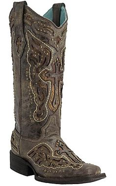 Corral® Women's Distressed Chocolate with Antique Saddle Inlayed Winged Cross Square Toe Western Boots   Cavender's