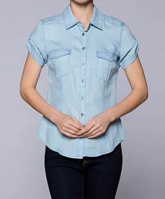 Another great find on #zulily! Light Blue Denim Pocket Cap-Sleeve Toip #zulilyfinds
