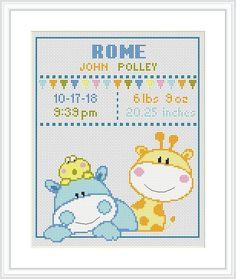 Birth announcement Cross Stitch Pattern baby Animal Giraffe   Etsy