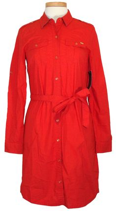 NEW Tommy Hilfiger Womens Dress Belted Shirtdress Cotton Poplin Red Sz S $89.50 #TommyHilfiger #ShirtDress #Casual
