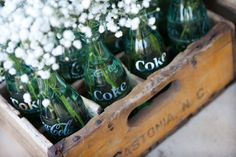 Baby's breath and vintage green glass bottles | Melissa Marie Photography | The Lovely Find
