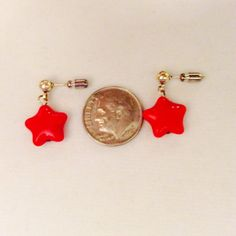 Mothers Day gift red star earrings red by JeriAielloartstore