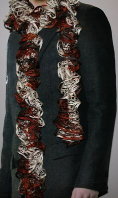 Hand Knit Lacy Ruffle Starbella Scarf  Tan by TheWeekendCrafter, $20.00