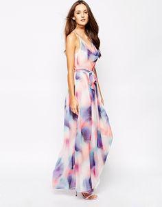 Ingrandisci French Connection - Ciara - Vestito lungo con stampa effetto spruzzo