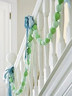 Easter egg garland. i've been trying to think of things to do with old eggs. but if you made them out of shells, how would you store this? i guess you can make it with the kids with plastic eggs!