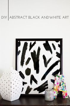DIY Abstract Black and White Art - Homey Oh My!