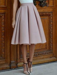 Champagne High Waist Pleated Flare Skirt