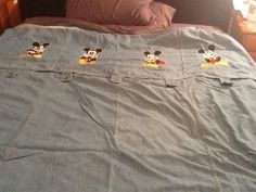 Disney MICKEY MOUSE Blue Denim Duvet Twin Bedroom Embroidered #Disney