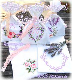 Der Stickbär | Vintage Lavendel Säckchen | Stickmuster mit Herz