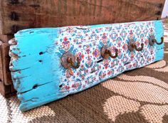 Driftwood Moroccan Turquoise Holder, with 3 brass Vintage style hooks