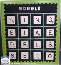 Miss Martin's Classroom: Classroom Boggle Board and Freebie! This can be used for numbers and practicing different types of math. This would also be useful for practicing math vocabulary. 4th Grade Ela, 4th Grade Classroom, Future Classroom, Classroom Fun, Boggle Bulletin Board, Library Bulletin Boards, Spelling Activities, Classroom Activities, Classroom Freebies