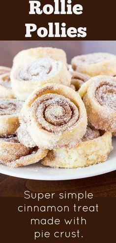Sugar Cinnamon Pie Crust Pinwheel Cookies are super simple cookies made with just 4 ingredients. Butter, sugar, and cinnamon rolled in pie crusts are baked into a delicious cookie. Cinnamon Pie, Cinnamon Roll Cookies, Yummy Cookies, Pie Crust Cinnamon Rolls, Cinnamon Recipe, Pie Crust Cookies, Cookie Pie, Cookies Et Biscuits, Cookie Butter