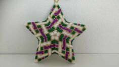Celtic Knot star ornament, beaded by Tiina Naappa, designed by Marsha Rice