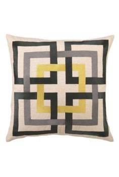 trina turk shanghai links pillow in my fave colors - yellow, black white/cream and gray