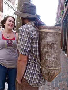 DIY backpack made from a hollowed out log? Really?
