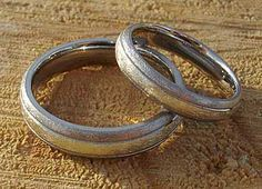 Wire Brushed Inlaid Titanium Wedding Rings | LOVE2HAVE UK! Titanium Wedding Rings, Titanium Rings, Gold Wedding Rings, Gold Rings, Wire Brushes, Jewelry Rings, Rings For Men, Jewelry Making, White Gold