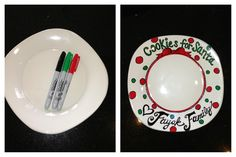 New way for sharpies and dollar store plate! SANTAS COOKIES! Place in oven and let bake while heating up to 425 degrees. Then set timer for 30 mins, then let oven completely cool off before taking plate out.  I've scrubbed and scratched and nothing came off. Still would recommend hand washing only.